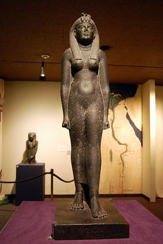 "The statue shown in this image is Cleopatra VII who was an Egyptian queen. She was considered as the last ""Pharaoh of Egypt"" during the Ptolemaic Dynasty (332-30 BC). The Black basalt statue is one of the best-preserved images of a Ptolemaic queen. She is wearing a wig with many braids and holding a cornucopia. The figure is clearly Egyptian in style, though with Greek attributes (knotted dress). The front of the headdress is decorated with a uraeus, the symbol of Egyptian royalty."