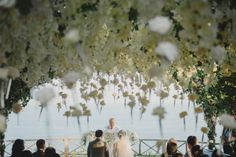 An ethereal floral canopy shaded the guests during this dreamy waterfront ceremony | Terralogical Photography