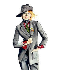 Emma Stone Vogue by Tracy Hetzel Only Fashion, Fashion Art, Fashion Design, Creative Illustration, Illustration Art, Fashion Sketches, Fashion Drawings, Fashion Illustrations, Emma Stone