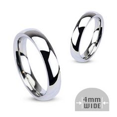 4mm Wide Glossy Mirror Polished Wedding Band Ring, Women's