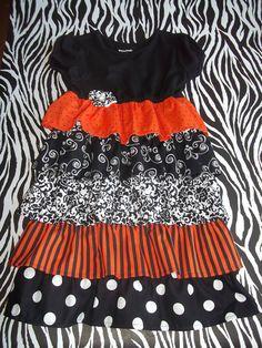 Girl's Halloween Ruffle Dress via Etsy.