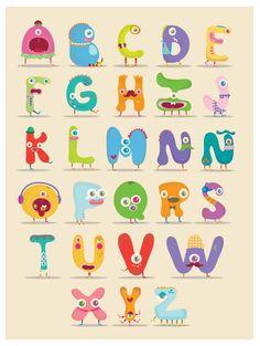 Monster alphabet by MJ Da Luz #alphabet #typography #illustration