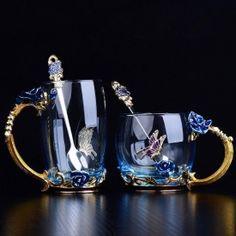 Blue Rose Enamel Crystal Cup Flower Tea Glass High-grade Glass Water Cup Flower Mug with Handgrip Perfect Gift For Lover Wedding Tea Mugs, Coffee Mugs, Coffee Cafe, Coffee Lovers, Mug Chat, Four Loko, Glass Coffee Cups, Pantone, Flower Tea