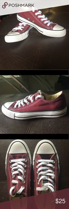 Converse All Star low top (unisex) Maroon Converse Chuck Taylor low top shoes. As with most Converse, these shoes are unisex with a women's size of 6.5.   Shoes were only wore one time, these shoes are too small for me (I wear a women's 7 for Converse). Converse Shoes Sneakers