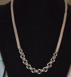 """Vintage Sterling Silver Mesh Chain Necklace Marked 925 Italy 18"""" 23.97 g (n29)"""