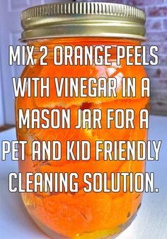 Mix orange peels and vinegar for kid friendly cleaning solution. 20 Awesome Cleaning Life Hacks That Save You Time And Money Safe Cleaning Products, Cleaning Recipes, Cleaning Solutions, Cleaning Hacks, Deep Cleaning, Spring Cleaning, Cleaning Supplies, Diy Cleaners, Cleaners Homemade