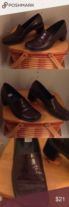 """Brown Naturalizer Shoes Brown leather with faux snake on the top of the shoe 2"""" heel. (Size 8M) Naturalizer Shoes Flats & Loafers"""