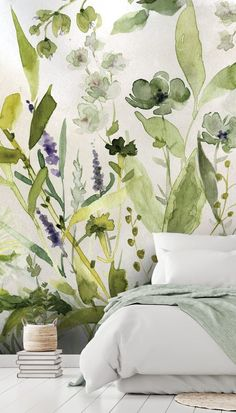 Floral wallpaper is back and it's so contemporary! Check out this beautiful Olive Green Plants wallpaper by Carol Robinson. It's great for adding subtle colour to your Scandinavian design. Where to buy watercolour wallpaper. Floral watercolour painting by Plant Wallpaper, Watercolor Wallpaper, Green Wallpaper, Wall Wallpaper, Floral Watercolor, Watercolour Painting, Wallpaper For House, Leaves Wallpaper, Wallpaper Designs