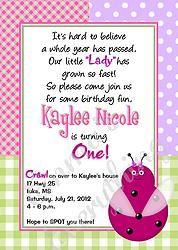 Patchwork Ladybug Birthday Party Invitations
