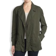 """Lucky Brand Olive Oversize Military Jacket- New Oversized military jacket inspired by an authentic surplus piece. Features a draped silhouette zip-front closure and an effortless lightweight finish. Comfy and casual look! Length is 29"""", chest 43"""" and sleeve length from center back 31.6"""" Brand new with tags! Lucky Brand Jackets & Coats Utility Jackets"""