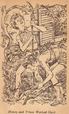 Trixie and Honey are determined to clear the vines around the gatehouse. (2) Illustration by Mary Stevens is from the 1951 Dustjacket edition of Trixie Belden and the Gatehouse Mystery