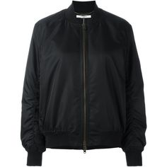 Givenchy Oversize Bomber Jacket (€1.810) ❤ liked on Polyvore featuring outerwear, jackets, black, blouson jacket, givenchy, givenchy jacket, zip front jacket and stand collar jacket