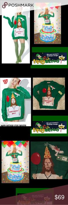 🦋Tipsy Elves•Happy Birthday Jesus Sweater Christmas sweater certainly reminds people of the reason for the season! Jesus is the Birthday Boy,with a balloon and a polka-dotted party hat to commemorate his special day.A white dove circles overhead,and the cheerful green background makes everything even more festive.When the weather outside is frightful,grab this sweater that's just as delightful.100% premiere acrylic yarn.,Double panel construction reinforced seams• Machine washableFits true…