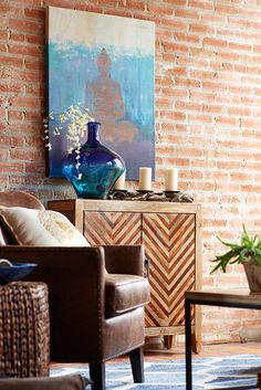 Need eclectic decor ideas? Cool off on even the hottest of patios or find inner peace in your living room while looking into Pier beautiful Buddha painting. The painting's UV protection will keep its calming colors safe indoors or outdoors. Buddha Gold, Thai Buddha, Buddha Art, Living Room Paint, My Living Room, Living Room Decor, Silhouette Design, Buddha Living Room, Feng Shui