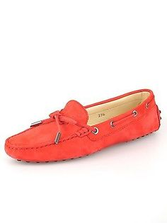 Tod's Shoes Size 37.5 Coral Suede Driving Moccasin Loafer Flat