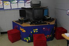 Hide computer wires and clutter with material that matches your classroom theme.