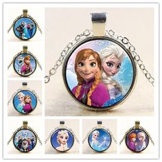 Princess ELSA Anna Silver Coated Glass Pendant Necklace Y014