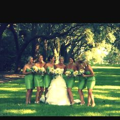 Green and white. I am looking at similar styles of bridesmaid dresses as well.