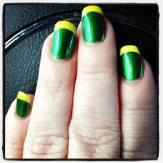 Oregon Ducks french manicure. Two Color Nails, Nail Colors, Get Nails, Hair And Nails, Oregon Duck Nails, Packer Nails, Mani Pedi, Manicure, Broncos Nails