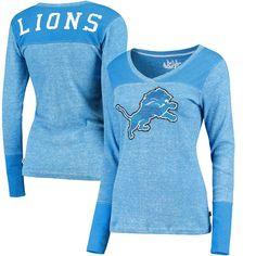 Detroit Lions Touch by Alyssa Milano Women's Goal Line Long Sleeve V-Neck T-Shirt - Blue - $39.99