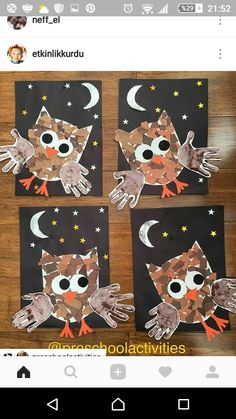 Handprint Crafts Ideas Capturing our little ones handprints is such a perfect way to record how quickly they grow and change. Handprint Crafts for Kids Ideas Kids Crafts, Daycare Crafts, Fall Crafts For Kids, Classroom Crafts, Art For Kids, Owl Crafts Preschool, Fall Art For Toddlers, Fall Classroom Decorations, Jungle Crafts