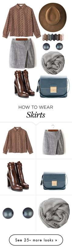 """""""Grey Wrap Skirt w/ asymmetric zip"""" by bechs on Polyvore featuring Toast, Marc Jacobs, Urban Decay, Brunello Cucinelli, women's clothing, women's fashion, women, female, woman and misses"""