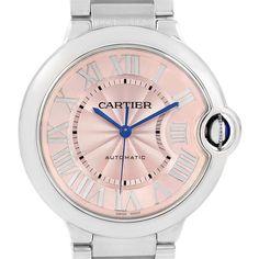 16928 Cartier Ballon Blue Pink Dial Steel Ladies Watch W6920041 SwissWatchExpo