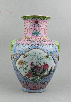 Famille rose porcelain vase painted Chinese children kids in spring landscape