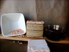 Salt & Pomegranate Soap #salt #pomegranate #scrub #pink #soap #badmouthsoap #handmade #simple #clean #filthy