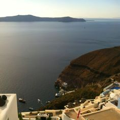 Fira, Santorini, Greece. Late afternoon caldera view.