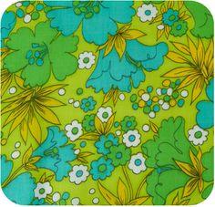 1960s Mod Green Cotton Fabric