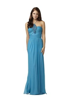 Jeweled Neckline Gown - Jazzy floor length gown by Aidan Mattox has a ruched bodice with spaghetti straps and an elaborately jeweled neckline.