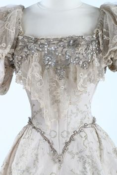 Close up on bodice of evening dress ca. 1895  From Kerry Taylor Auctions