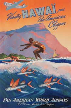 Hawaii without second i on vintage poster