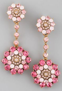 Oscar de la Renta Rhinestone Drop Earrings, Pink