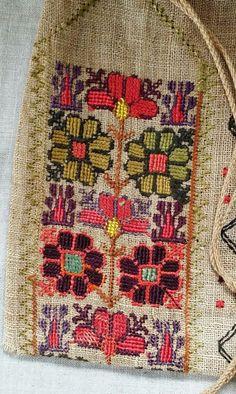 Lovely Native American Indian? European? Sampler Embroidery Bag