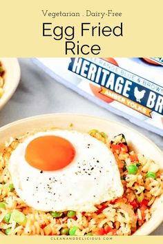 This quick and easy egg fried rice recipe is simple to make and so delicious. It's like Chinese restaurant-style fried rice, but healthier and made at home! #friedrice #easy #chinese Clean And Delicious, Delicious Recipes, Healthy Recipes, Pan Green Beans, Cooking Jasmine Rice, Dairy Free Eggs, Turkey Meatloaf, Sauteed Vegetables, Chinese Restaurant