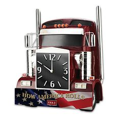 """How America Rolls Wall Clock Hand-cast sculpture with gleaming chrome accents, patriotic front bumper, accurate quartz movement. Lights up, horn sounds. Limited edition of 5,000! Measures 11"""" W x 14"""" H x 6"""" D  Price: $139.95 US"""