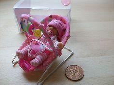 b'ful OOAK baby girl + bouncy chair, in gift box 1/12, dolls house
