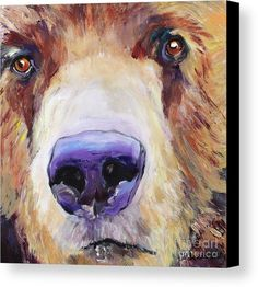 Grizzley Bear Canvas Print featuring the painting The Sniffer by Pat Saunders-White