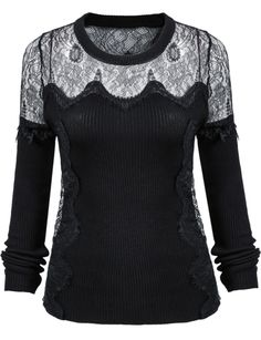 Black Long Sleeve Contrast Lace Knit Sweater 21.67