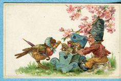 Y0429 Postcard Gnome Rocking Baby Birds in Cradel, Mother Robin, Flowers