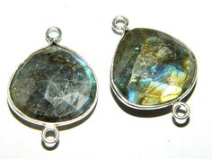Silver Framed Blue Flashy Labradorite by GemsPebblesandBeads, $22.00