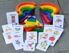 New wooden toy Rainbow Blocks circle set match-a-picture Baby toy