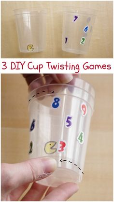 Number Munch and Other Cup Twisting Games for kids- work on bilateral coordination