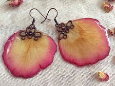 Rose petals resin earrings botanical natural by ForestryVision