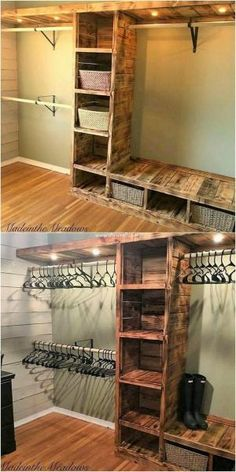 Modish Wood Pallet Projects for Your House.Pallet closet with the lighting effect is best option for your living room in the usage of the best wood pallet projects. You can take it as the form of the simple artwor# house Wooden Pallet Projects, Diy Pallet Furniture, Furniture Ideas, Rustic Furniture, Antique Furniture, Furniture Design, Diy House Furniture, Furniture Styles, Building Furniture