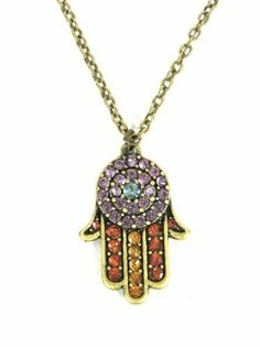 Crystal Hamsa Necklace Multi Colored Hand of Miriam Evil Eye Vintage Judaica Protection Amulet Magic Metal. $29.90. Hamsa Pendant Size: 1 inch. Chain Length Laying Flat, Open from Clasp to End: 17 inches. Makes a perfect gift.. Ships from the USA. Ward off evil spirits with this gold tone traditional hamsa pendant. Adorned with dazzling, colorful crystals.. Search Magic Metal Jewelry for more jewelry styles.. Save 23% Off!