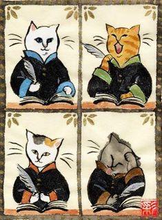 "Kenji Miyazawa ""Cat Office"" Illustration, Art Animals - Anthropomorphic, given human attributes, Cat, Cats, Kitty, Kitties, Kittens"