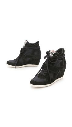 { Ash  Bowie Suede Wedge Sneakers with Canvas Insets }